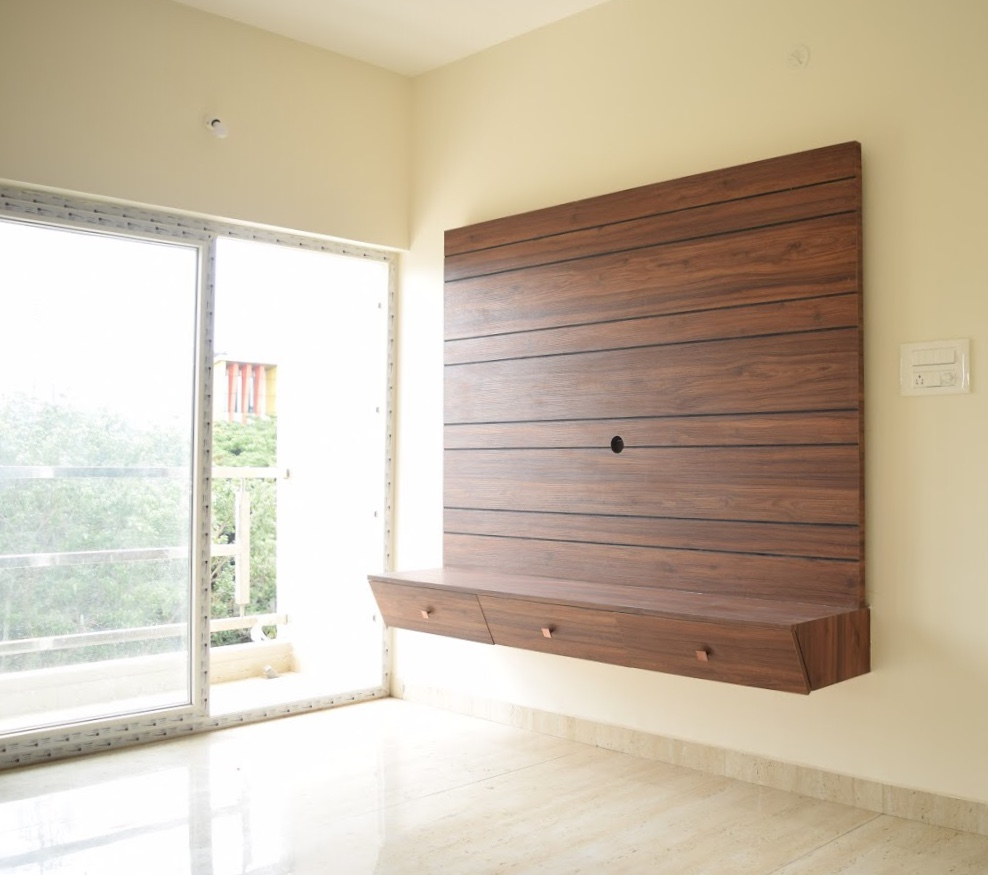 TV unit with concealed wire manager and plug points