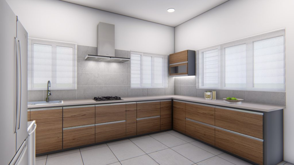 Interior designers. Modular kitchen with wooden shutters and grey color